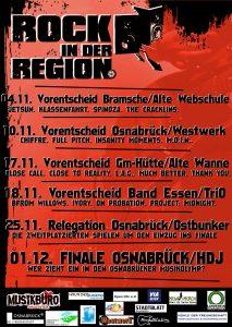 Das Plakat von Rock in der Region 2017 mit allen Bands und Veranstaltungen